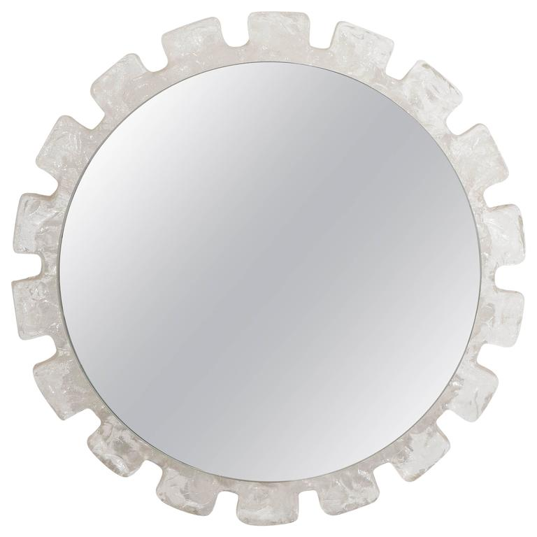 1stdibs Wall Mirror 1960s Sunburst Ice Block Glass Frame