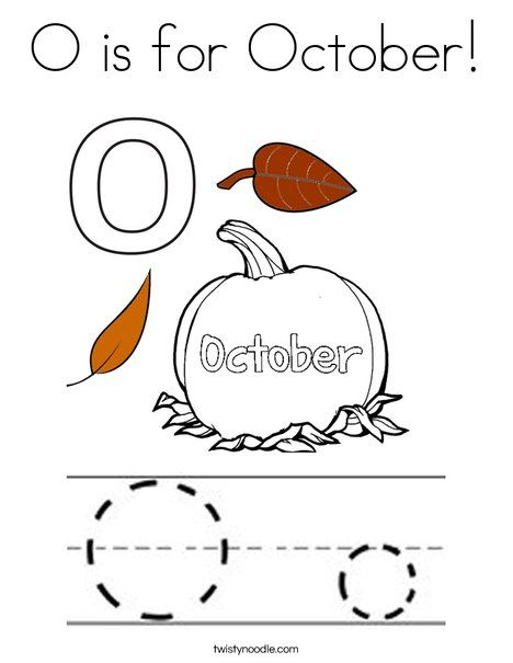 O is for October Coloring Page - Twisty Noodle | Letter o ...