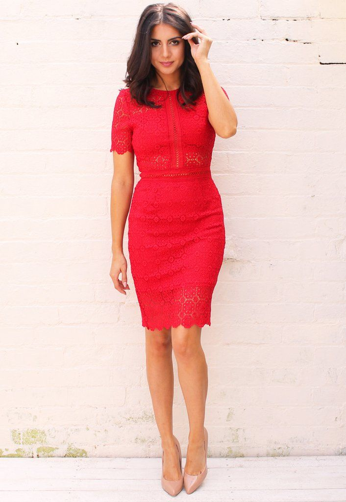 Korte Rode Jurk.Short Sleeve Embroidered Lace Pencil Dress With Cut Out Detail In