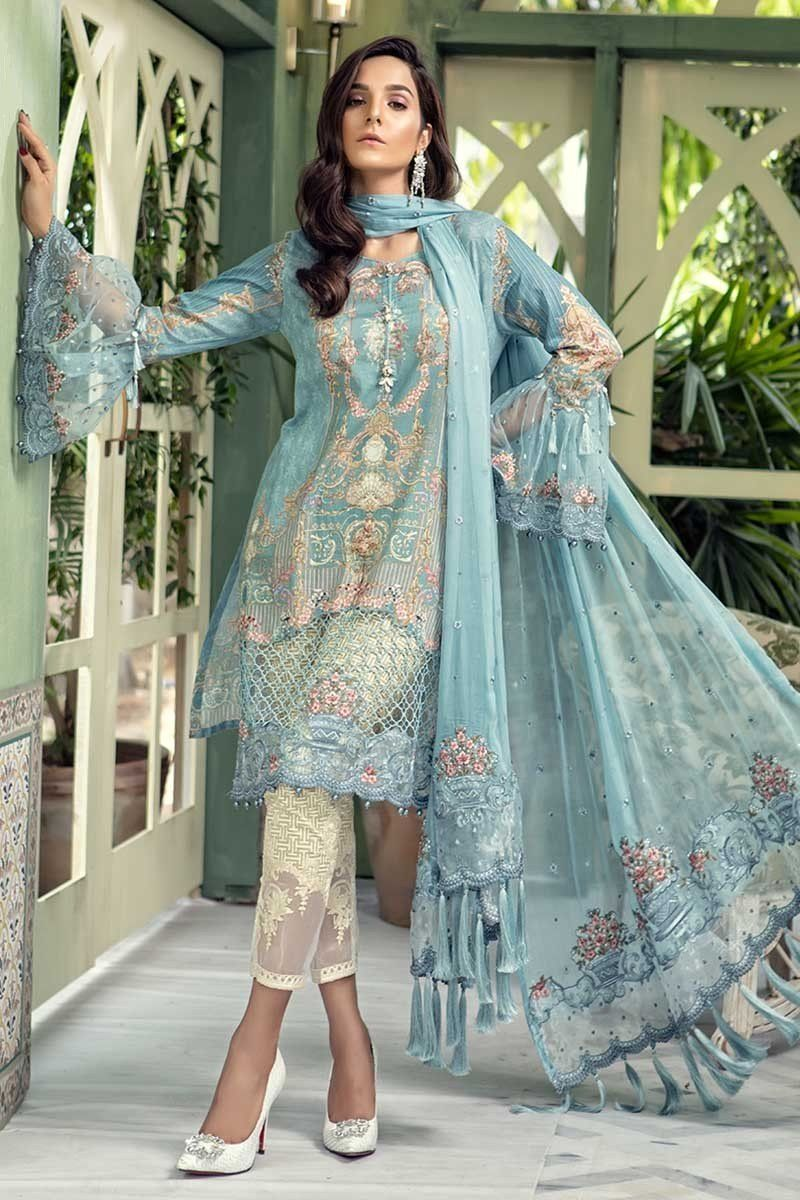 Latest Maria B Eid Lawn Dresses Designs Collection 20182019 is part of lawn Design Dress - Latest Maria B Eid Lawn Dresses Designs Collection 20182019 consists of beautiful fabrics embroidered patterns & prints on lawn, Jacquard, net, etc