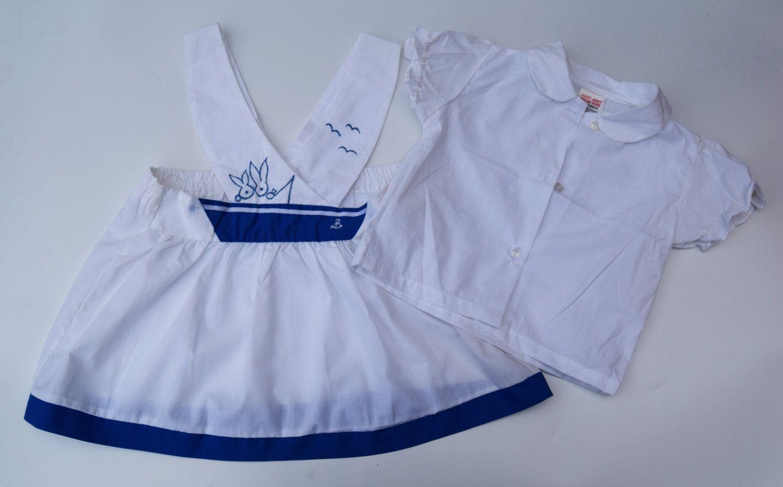 baby overgooier hemdje uit jaren 80 2 dlg set polycotton matrozenjurk maat 12 maanden babykleding zomer blauw wit jurkje  deadstock door Smufje op Etsy