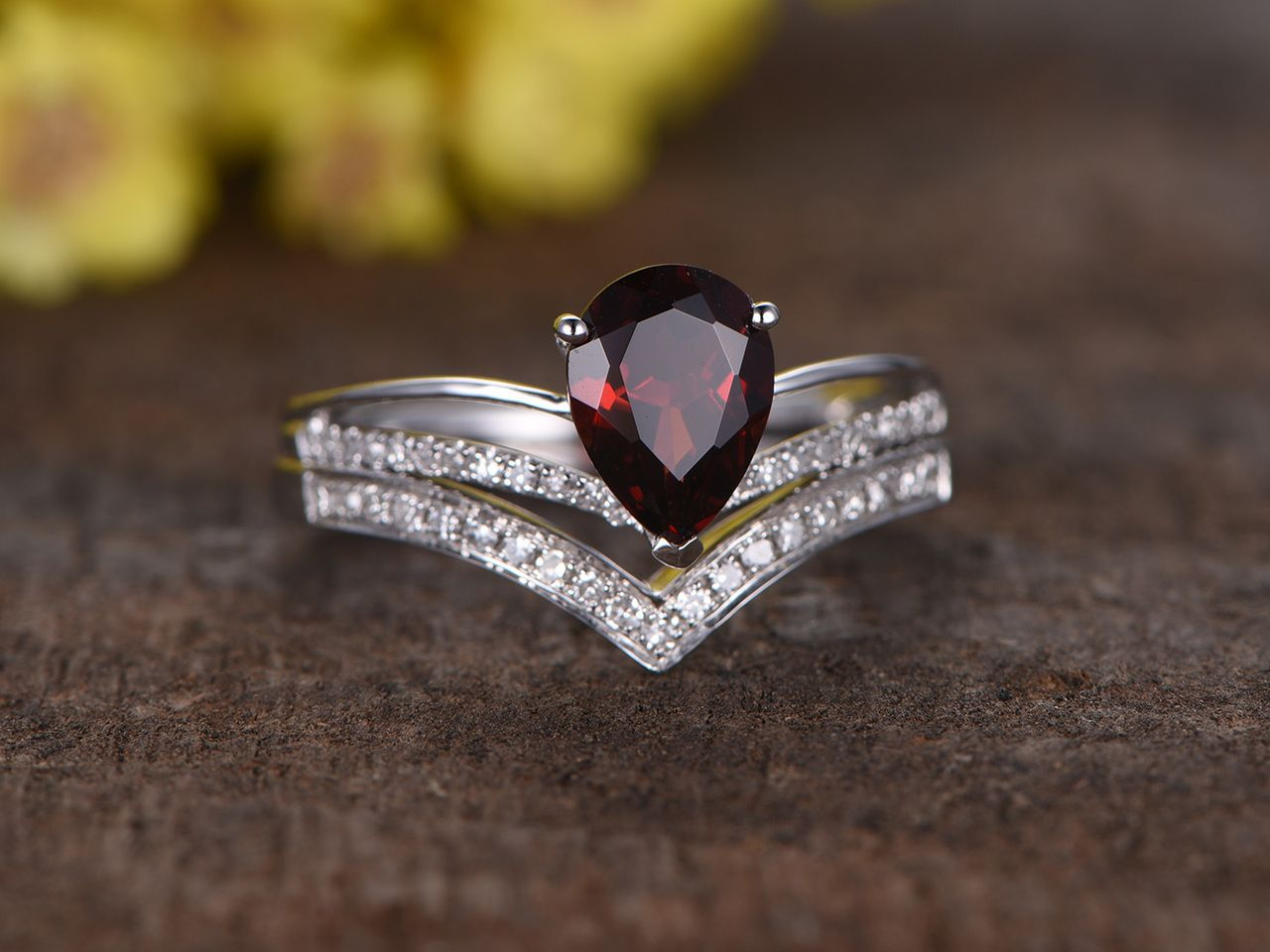 1.1 Carat Pear Shaped Wedding Set Diamond