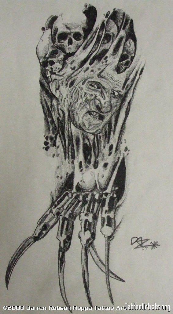 Biomech Freddy Horror Tattoo Design