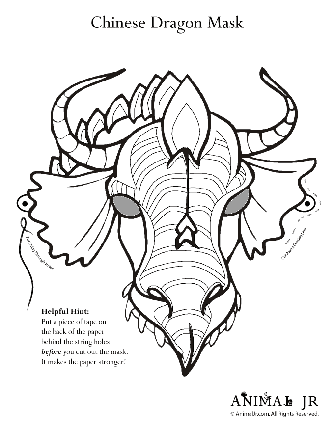 Printable Dragon Mask Coloring Page | Dragon mask, Masking and Dragons