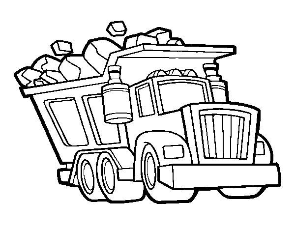 Trucks dump truck loaded wit tons of rocks coloring pagejpg