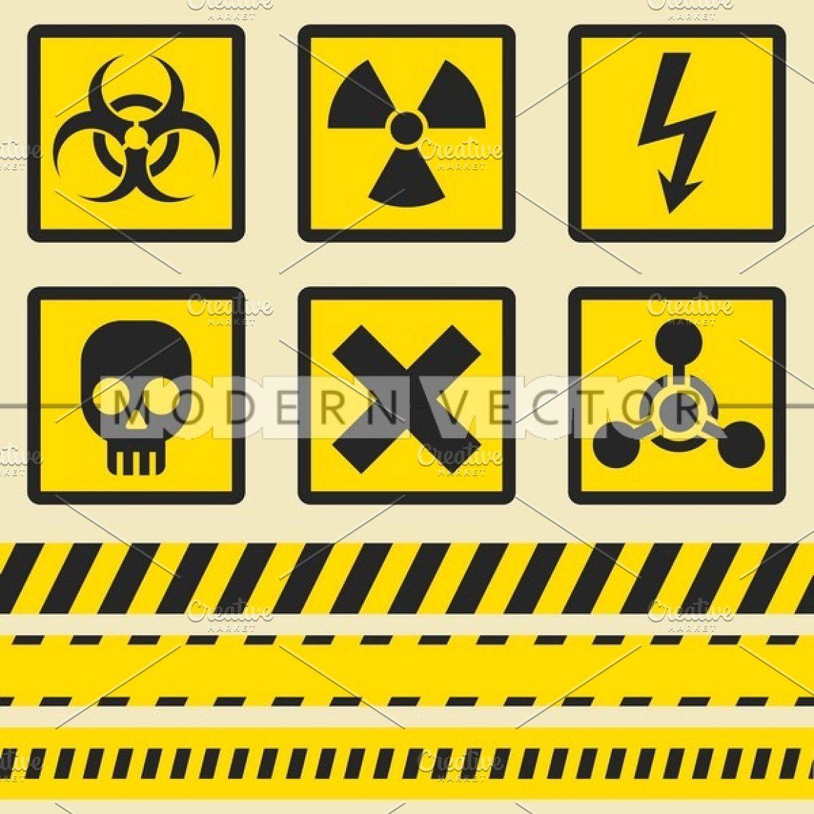 Warning signs symbols icon set background vector design