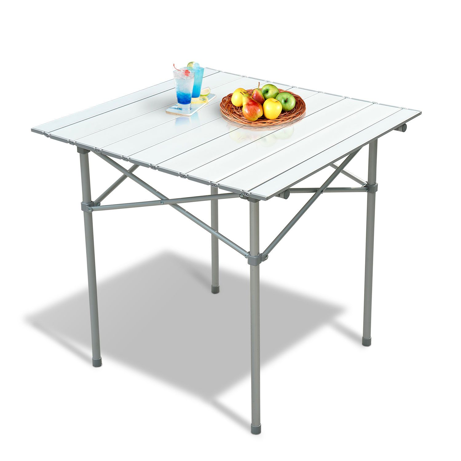 28 x 28 square aluminum picnic table roll up portable. Black Bedroom Furniture Sets. Home Design Ideas