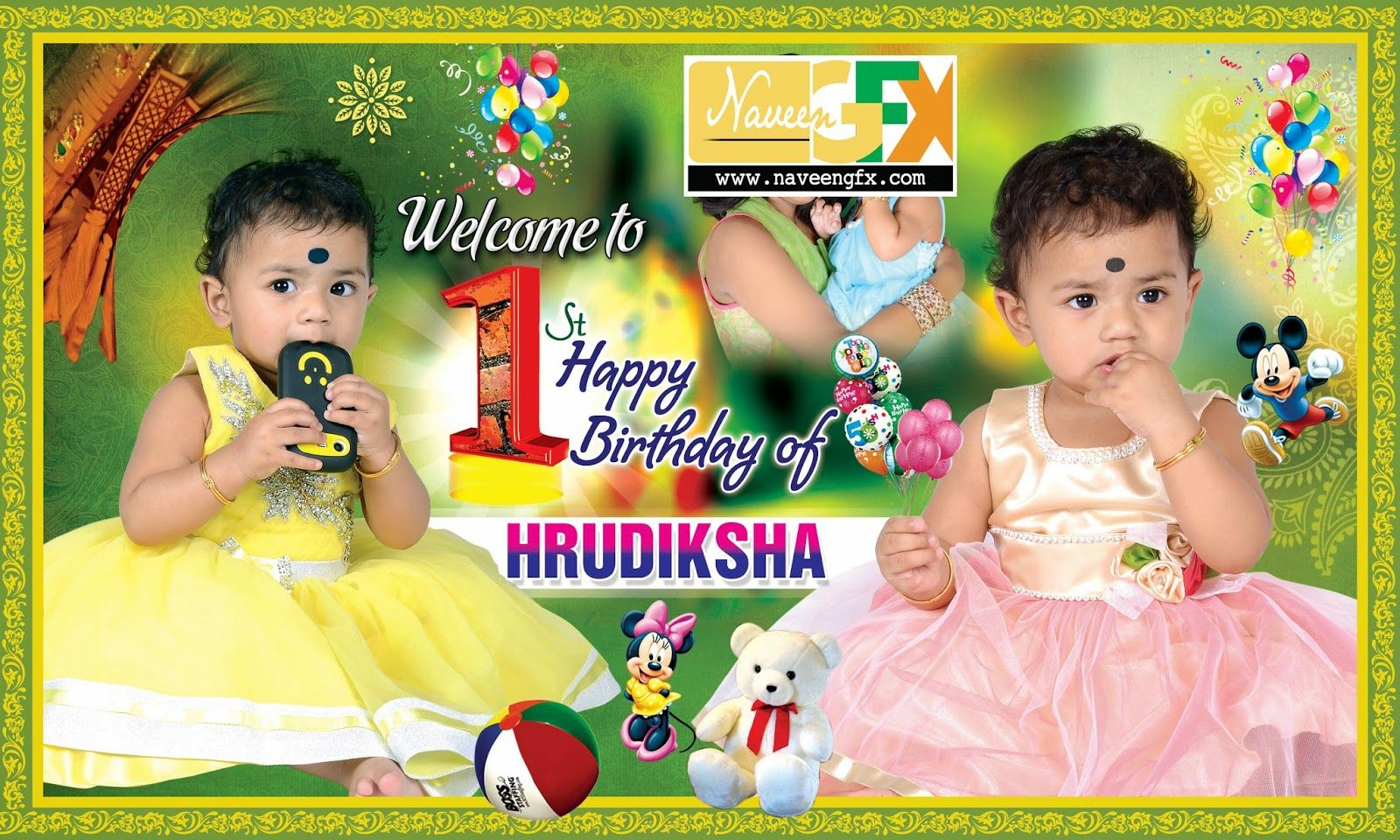 1st birthday flex designs in india
