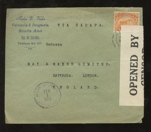 EL Salvador 1919 WW1 Censor Advert Envelope Pharmacy Pedro Vides | eBay