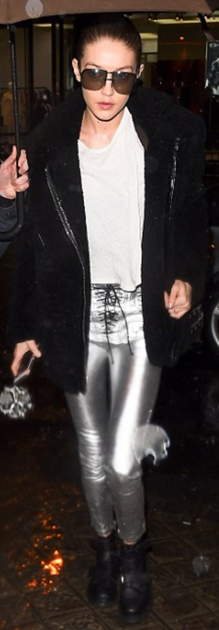 Gigi Hadid wearing Unravel, Dr. Martens and AZUL by moussy