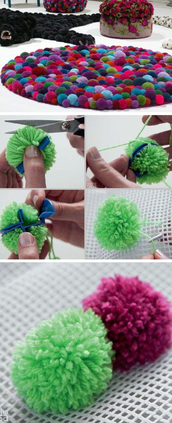 Colorful Pompom Rug   24 DIY Teen Bedroom Ideas for Girls