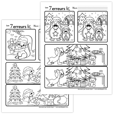 Jeux des 7 erreurs pour no l activit enfant noel - Jeux imprimer adulte ...