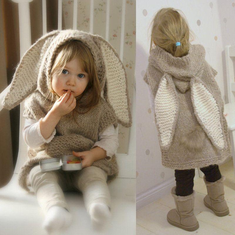 Cute Big Rabbit Ears Sleeveless Hooded Long Knitted Sweater - Banggood Mobile