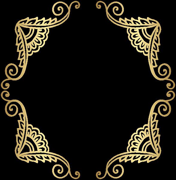 Golden Border Frame PNG Clip Art Image Adesivos, Festa