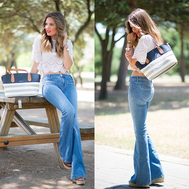 Look Top Crop Jeans Mi Aventura Con La Moda Flare Jeans Style Flare Jeans Outfit Jeans And Wedges