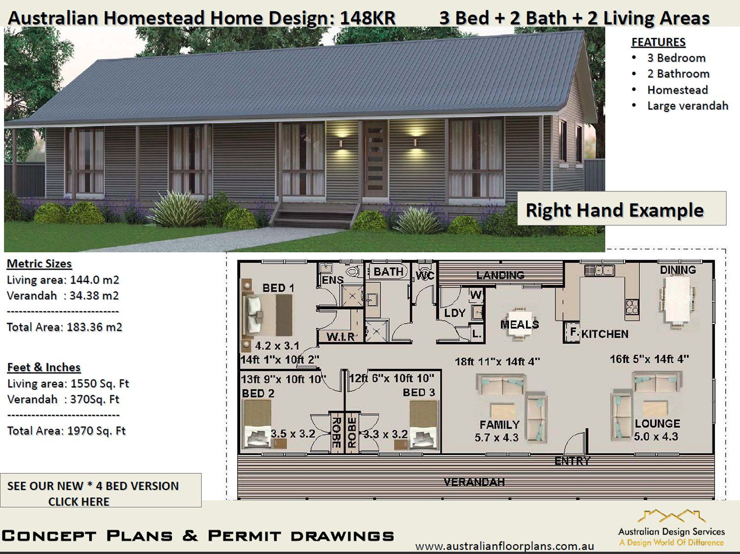 148kr Australian Homestead 3 Bedroom Floor Plan 183 3 M2 Preliminary Plans Container House Plans House Plans Australia Affordable House Plans