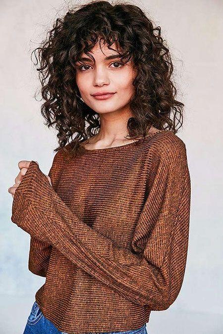 Photo of Curly Bangs Brown Hair  #damenfrisuren #frechekurzhaarfrisurendamen #frisurendam…