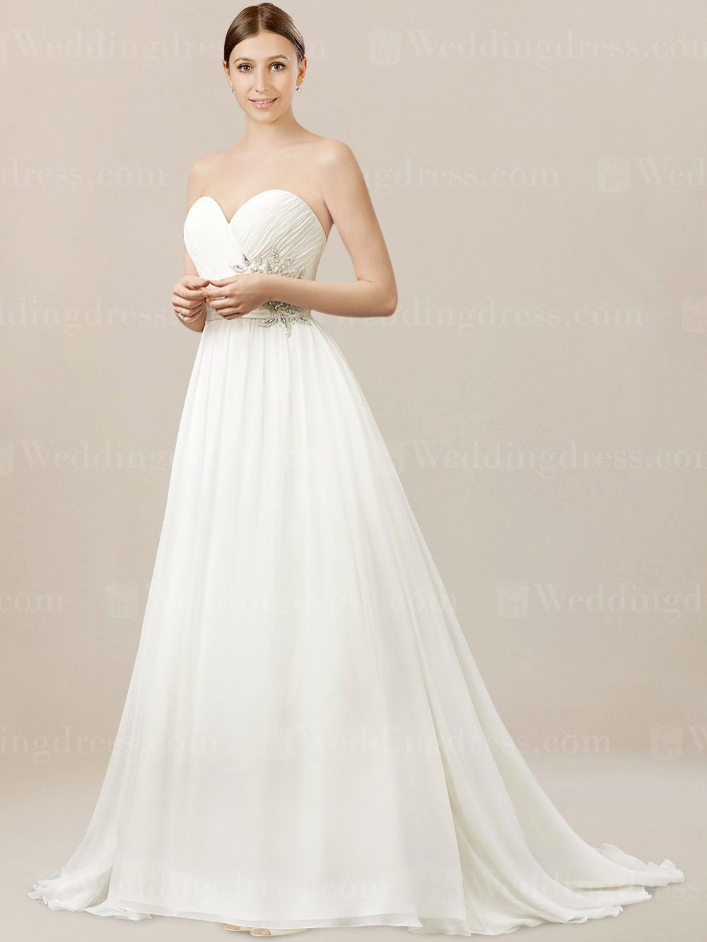 Corset Wedding Dress Is Made In Soft Chiffon Fabric Pleated