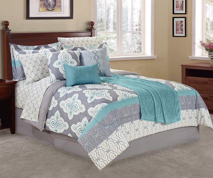 Living Colors Aqua Gray Tile King 12 Piece Comforter Set Big Lots Comforter Sets Bedroom Decor Beautiful Bedding Sets