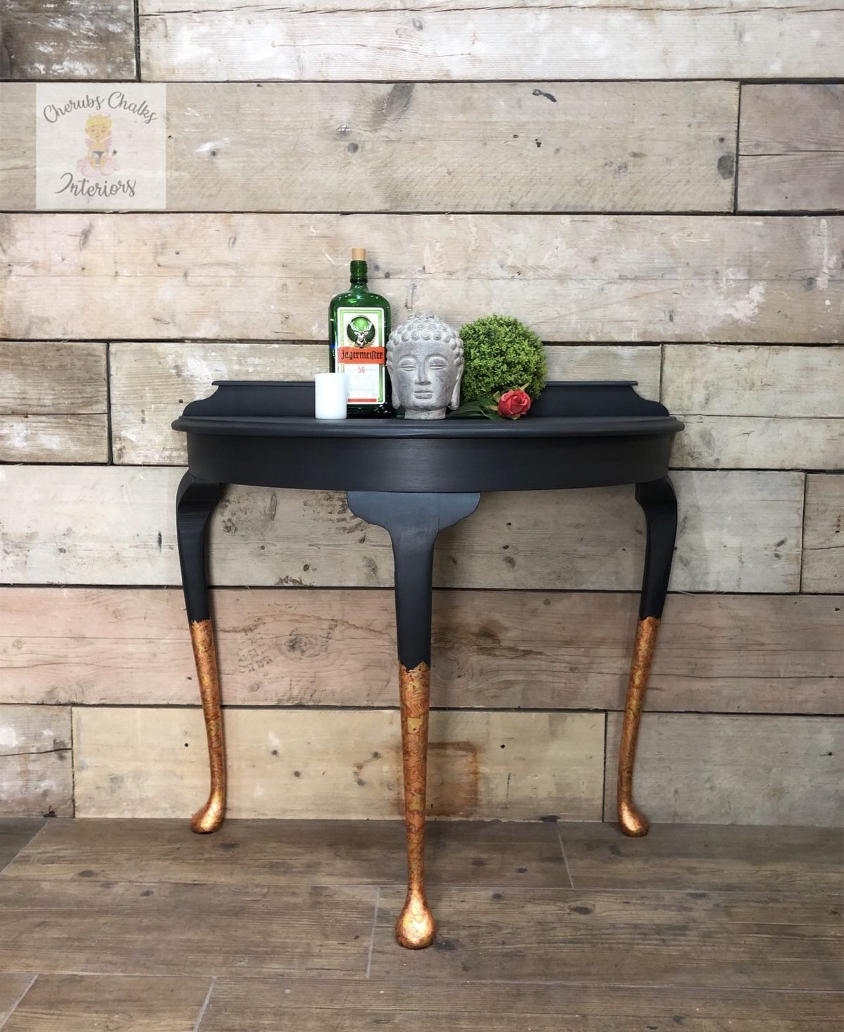 Black and gold Demi Lune console table in 2020 Half moon