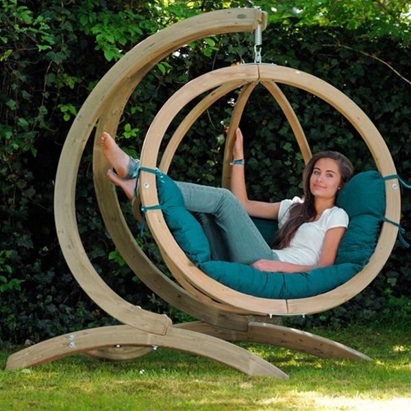 Awesome Amazonas Globo Wooden Hanging Swing Chair With Stand. Garden SwingsGarden  Swing HammockWooden ...