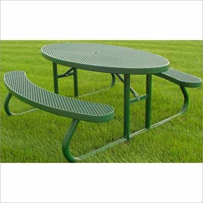 Champion Oval Freestanding Picnic Table Expanded Metal Mesh - Mesh picnic table
