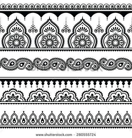 Mehndi, Indian Henna tattoo seamless pattern, design elements ...