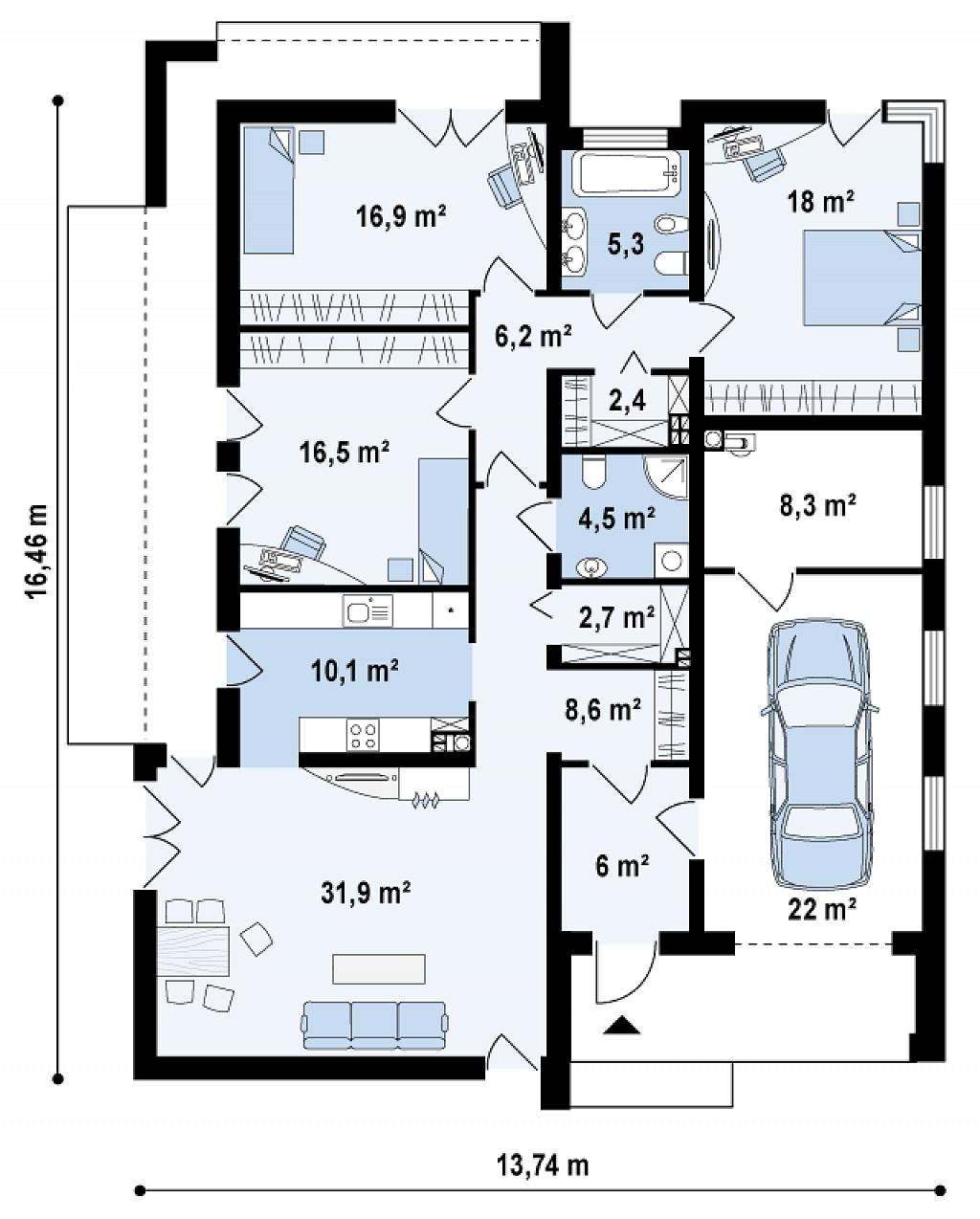 Plano de casa moderna con hermoso diseño exterior e interior, 3 ...