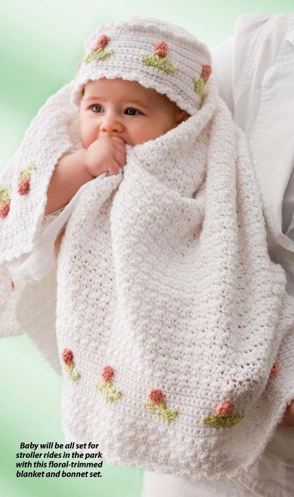 X493 Crochet PATTERN ONLY Tulip Baby Blanket and Hat Pattern Set ...