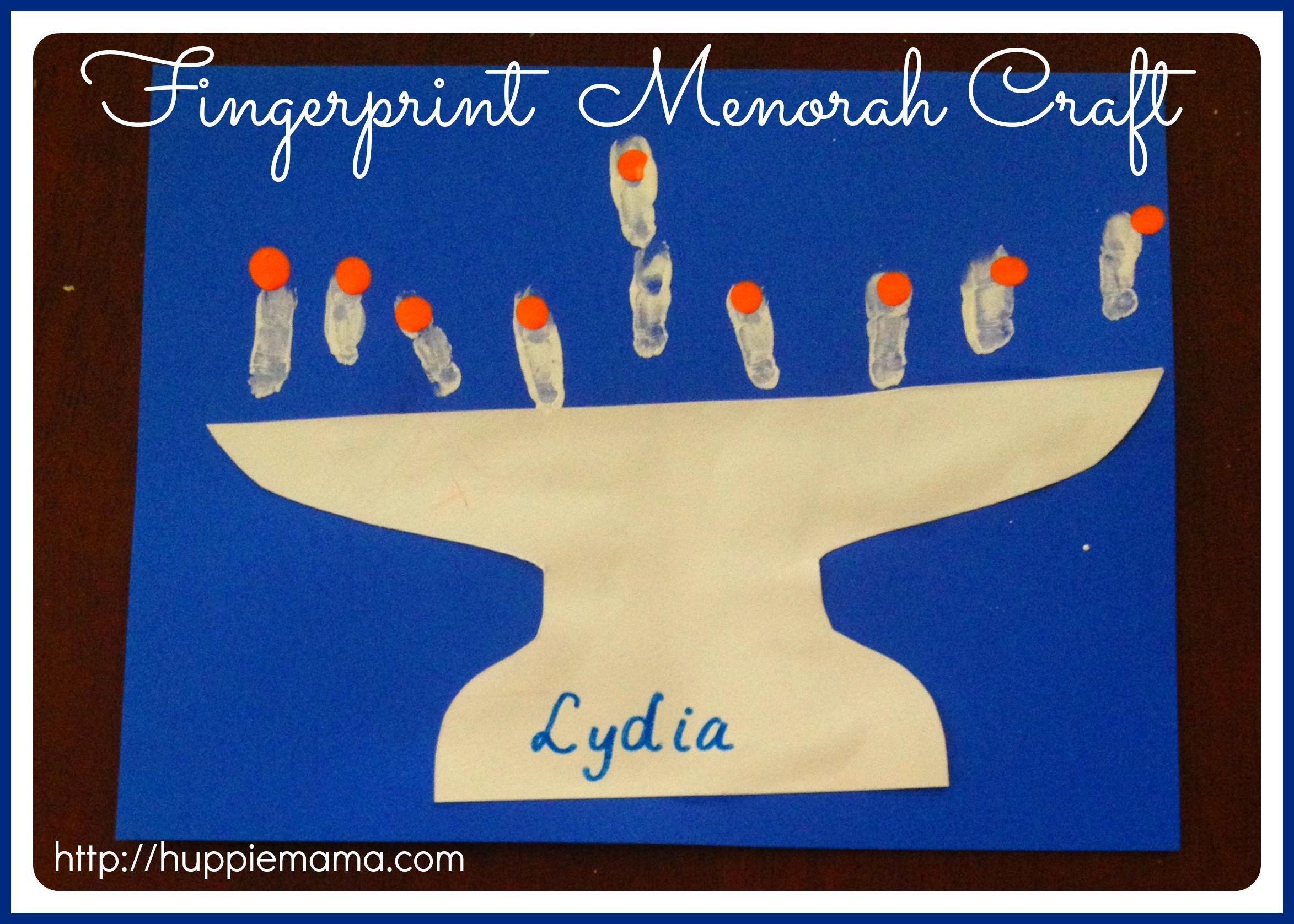 Chanukah Craft Fingerprint Menorah