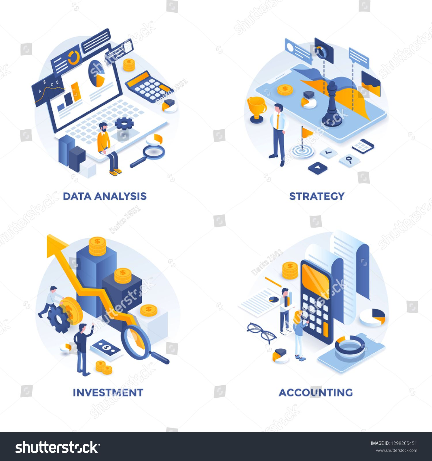 Modern Flat Isometric Designed Concept Icons For Data Analysis