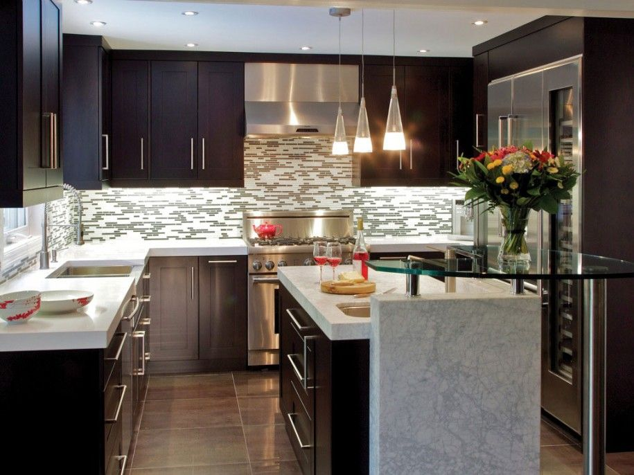 Marvelous Kitchen: Kitchen Designs Beautiful Elegant Small Kitchen With Island Design  Ideas In Awesome White Marble And Dark Chocolate Wood Material W.