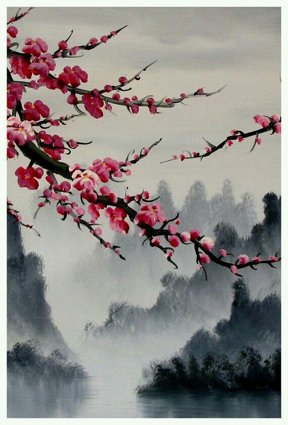Pin by cosette marie on art pinterest cherry for Japanese watercolor paintings