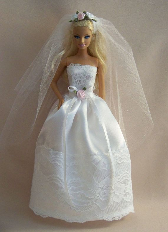 Handmade Barbie Wedding Gown/Dress-Barbie Satin and Lace Gown with ...