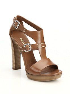 c19ac3d1f73 Prada - Leather Stacked-Heel Sandals