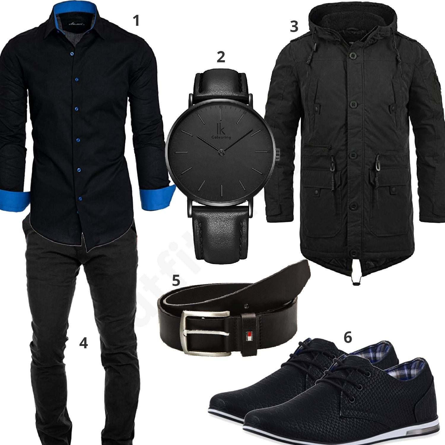 Schwarzes Business-Outfit mit Parka (m0766)  outfit  style  herrenmode   männermode  fashion  menswear  herren  männer  mode  menstyle  mensfashion   menswear ... 8caf2d462f