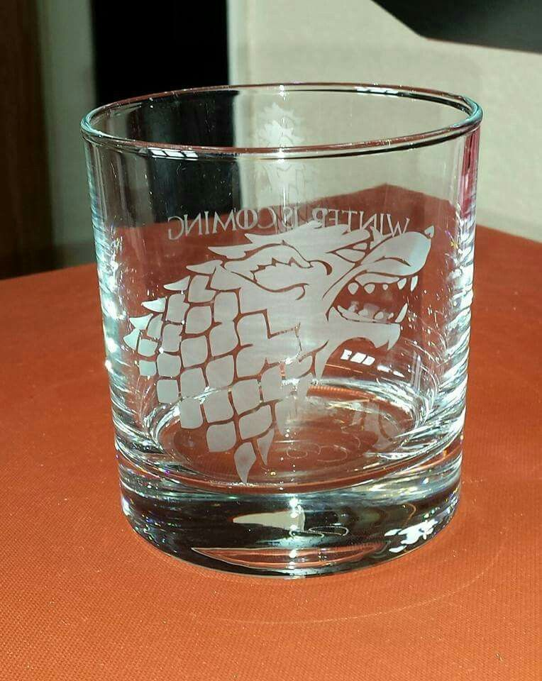 House Stark etched whiskey glass (Game of Thrones) For