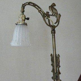 Vintage Cast Iron Bridge Floor Lamp Griffins Parrot 1920 Art For a ...