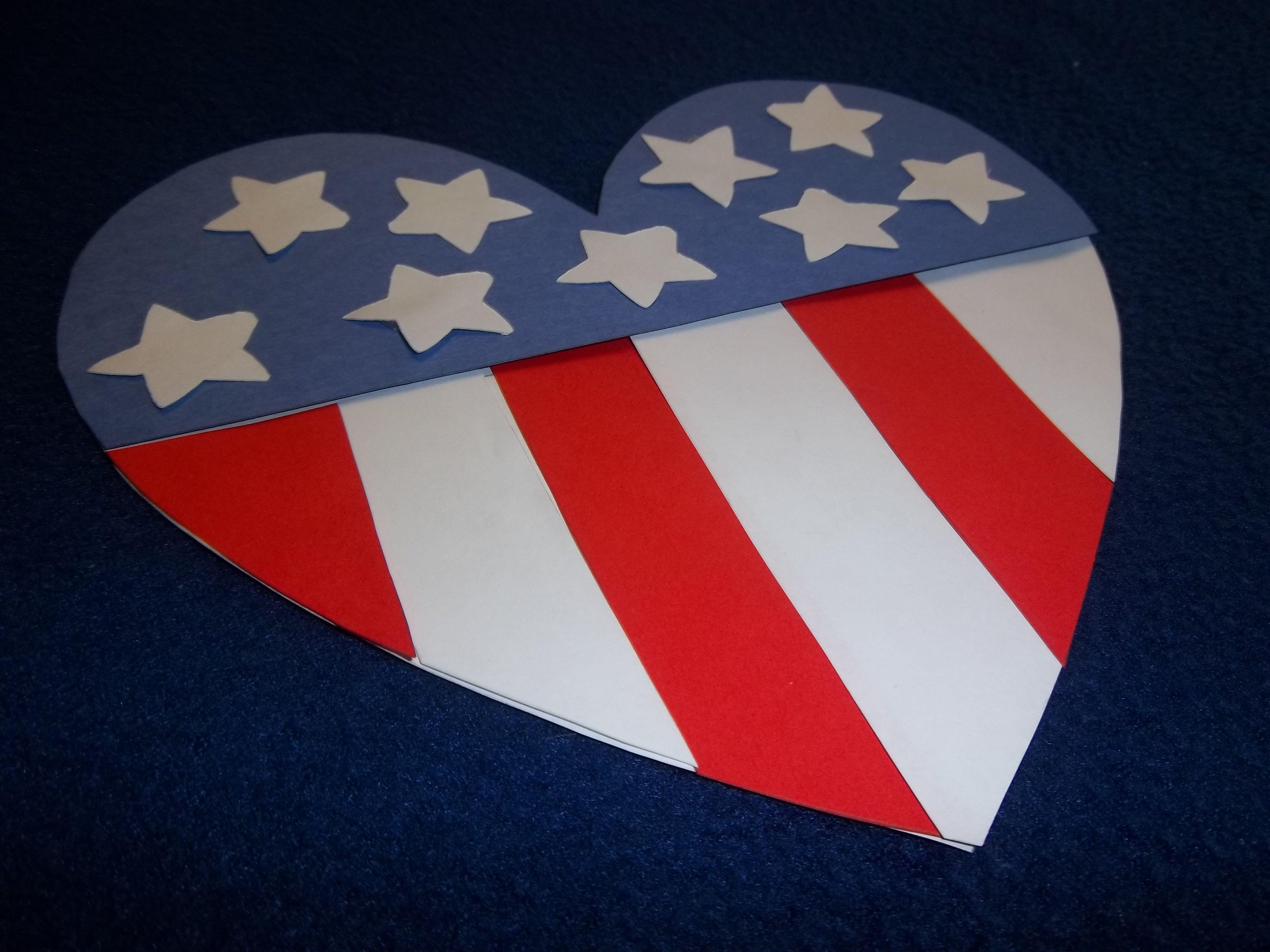 Patriotic Heart Craft Patriotic crafts, Kindergarten art
