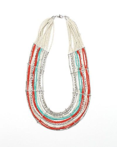 "Shine Necklace   Colorful statement necklace, with multi-beaded strands, hammered metal bars, and bib shape. $32.00  2"" width 22"" length"