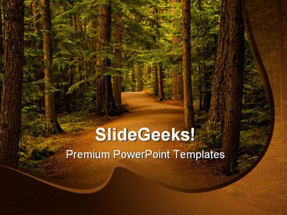 Forest Path Way Nature Powerpoint Template   Powerpoints
