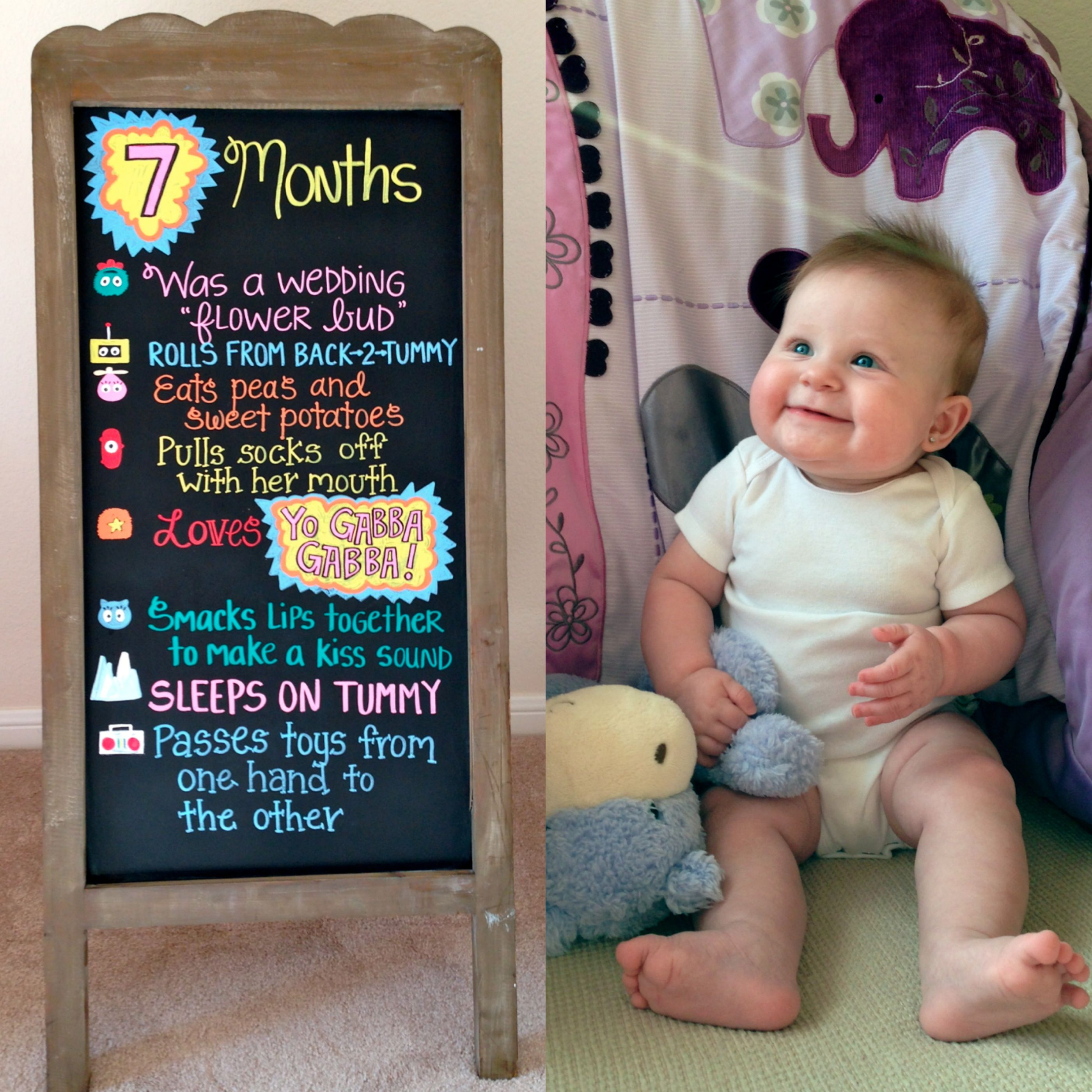 7 Months Baby Chalkboard Monthly Baby Pictures Baby Month By Month 7 Month Baby