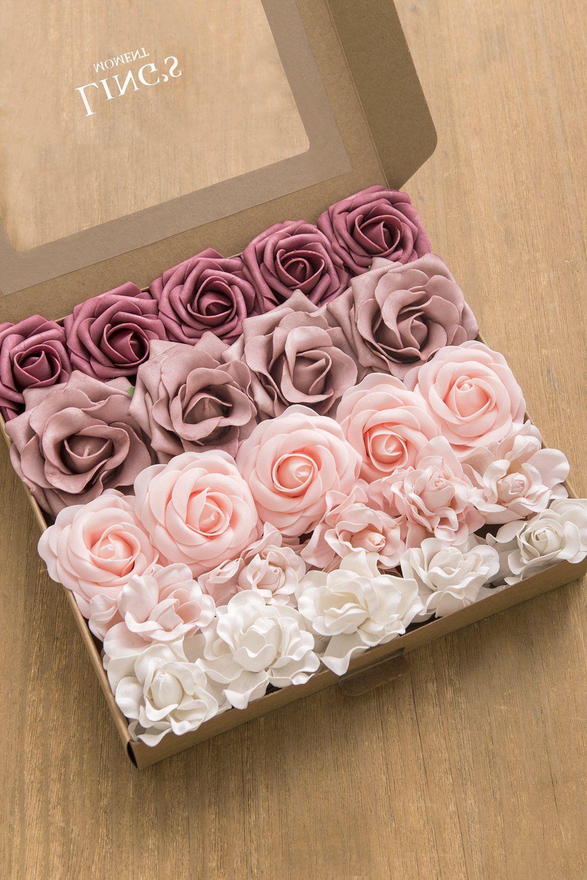 Dusty rose burgundy flower combo box set 15 style