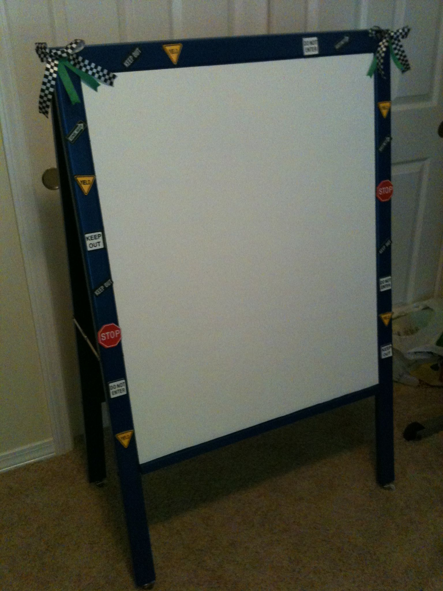 Old Easel Painted And Decorated For Car Theme Classroom