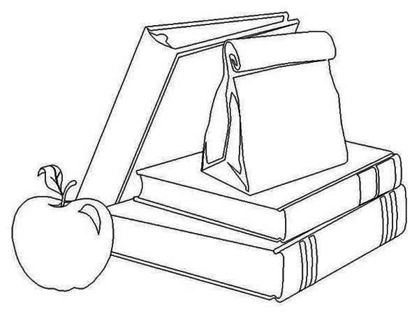 school supplies and lunch for going back to school coloring page