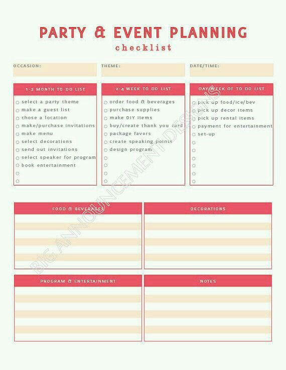event planning checklist party checklist event planning template event planning business catering