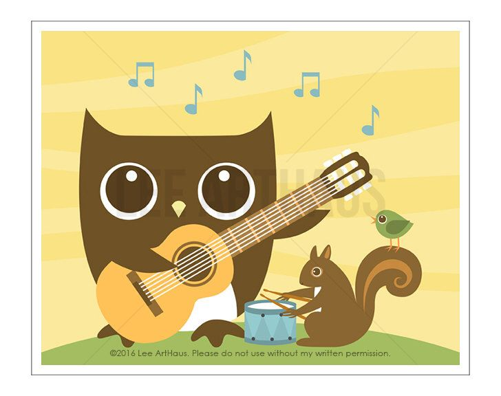 122A Owl Nursery Print - Owl and Squirrel Playing Music Wall Art ...