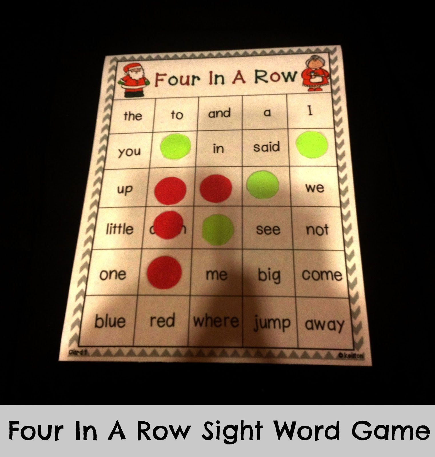 Free Four In A Row Sight Word Game