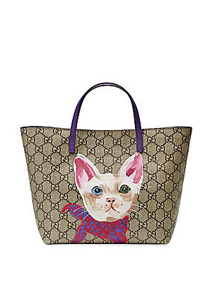 ca76052414fd43 Gucci Girl's GG Supreme Cat Tote Girls Bags, Kids Girls, Canvas Leather,  Girls