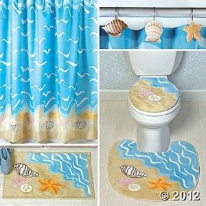 Nautical Seashell Decor Complete Bathroom Rug And Shower Curtain Set NEW